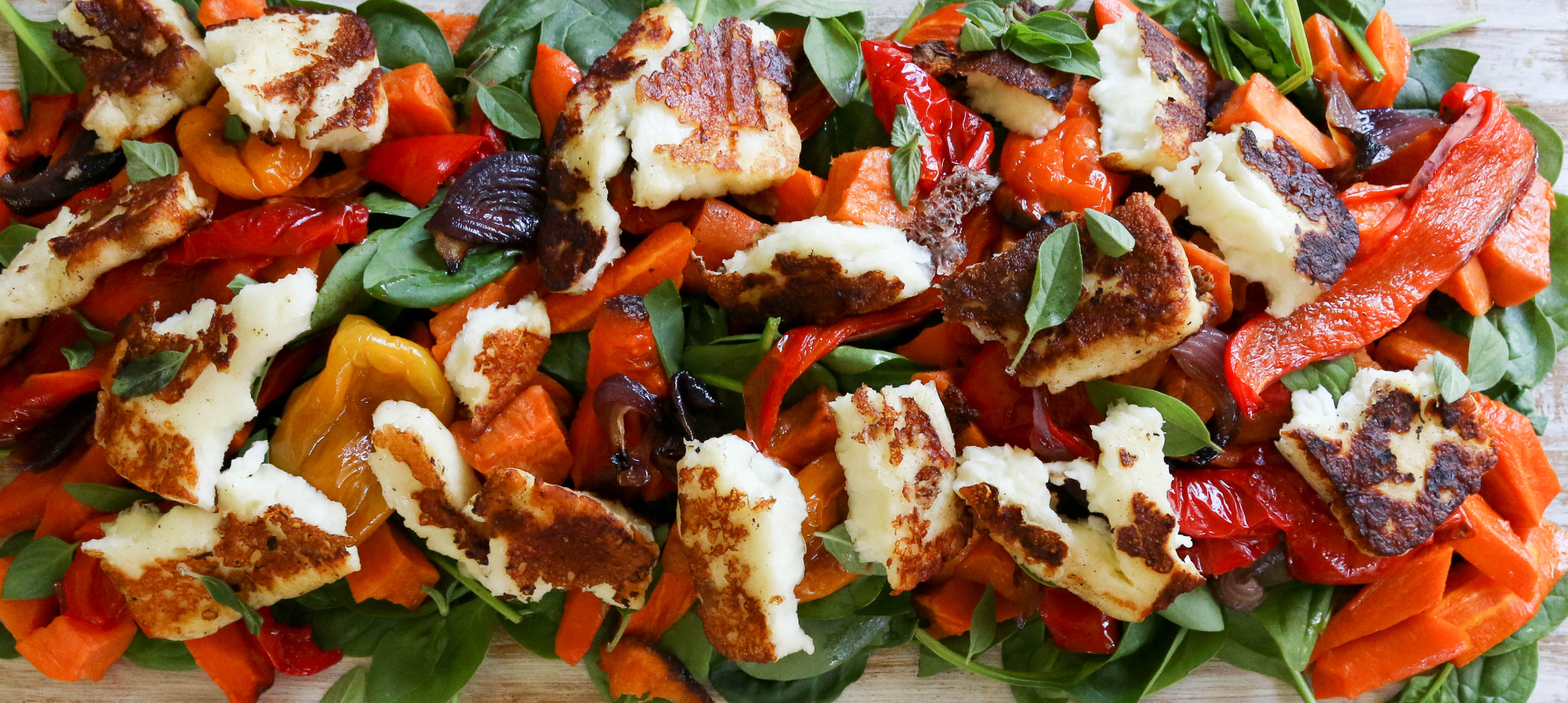 Roast veg and halloumi salad